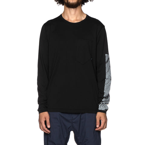 Stone Island Shadow Project Mako Cotton Jersey Garment Dyed LS Pocket T-Shirt (A) Black, T-Shirts