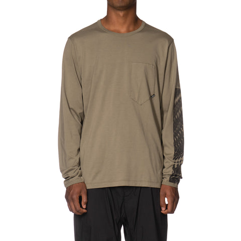 Stone Island Shadow Project Mako Cotton Jersey Garment Dyed LS Pocket T-Shirt (A) Verde Militaire, T-Shirts