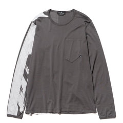 Stone Island Shadow Project Mako Cotton Jersey Garment Dyed LS Pocket T-Shirt (B) Grigio, T-Shirts