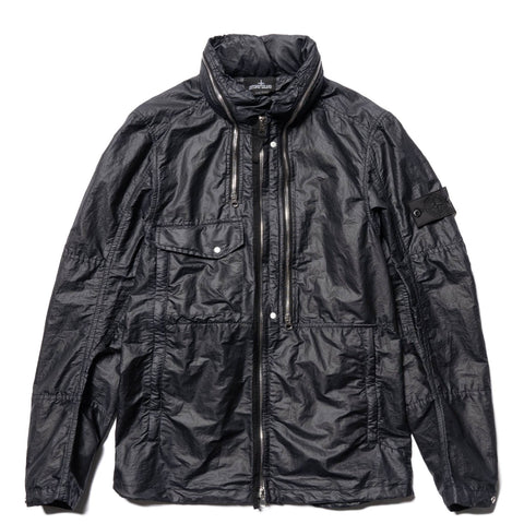Stone Island Shadow Project Opak Garment Dyed Stand Collar Zip Jacket Black, Outerwear