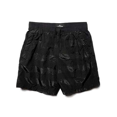 Stone Island Shadow Project Striped Nylon Metal Garment Dyed Drawstring Shorts Black, Bottoms