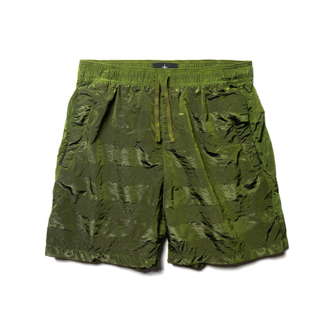 Stone Island Shadow Project Striped Nylon Metal Garment Dyed Drawstring Shorts Olive, Bottoms