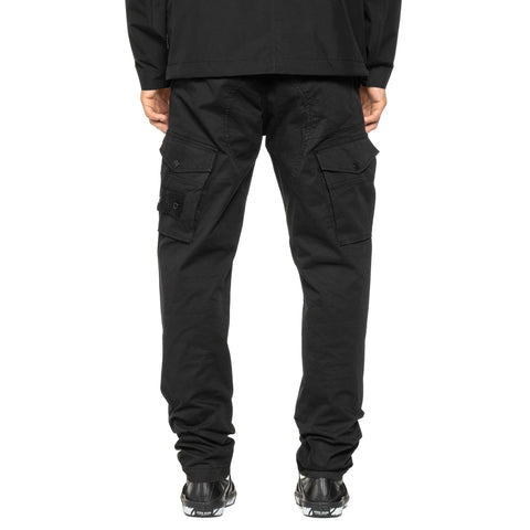 Stone Island Stretch Cotton Twill Ghost Piece Garment Dyed Easy Waist Cargo Pant Black, Bottoms