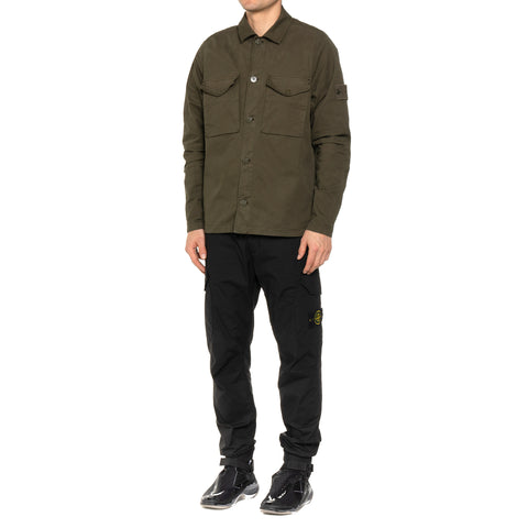"Stone Island Stretch Cotton Twill ""Ghost Piece"" Garment Dyed Shirt Jacket Olive, Outerwear"
