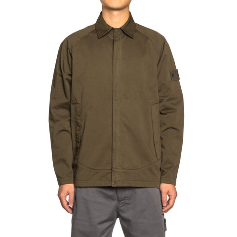 Stone Island Stretch Cotton Wool Satin Ghost Piece Shirt Militare, Shirts