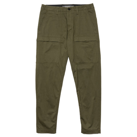 Stone Island Stretch Cotton Wool Satin Set In Pocket Pant Olive, Bottoms