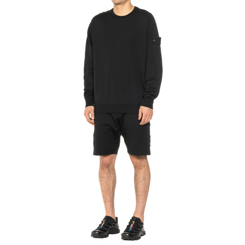 "Stone Island Stretch Fleece ""Ghost Piece"" Garment Dyed Crewneck Black, Sweaters"