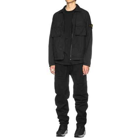 Stone Island Stretch Gabardine Garment Dyed Cargo Pocket Pant Black, Bottoms
