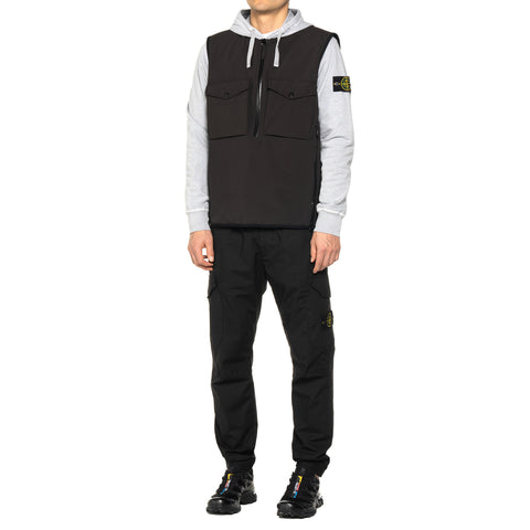 "Stone Island Stretch Twill ""Ghost Piece"" Garment Dyed Half Zip Vest Black, Outerwear"