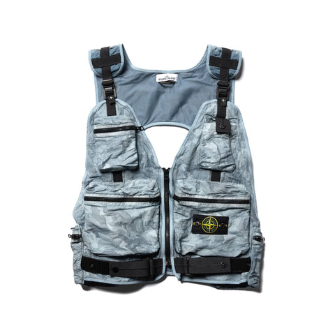 Stone Island Brushed Tela with Big Loom Camo Print Tactical Vest Cielo, Outerwear