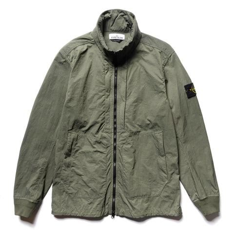 Stone Island Tightly Woven Nylon Twill TC Garment Dyed Stand Collar Blouson Olive, Outerwear