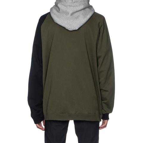 TAKAHIROMIYASHITA The Soloist. Multi Color Oversized Pullover Hoodie Olive x Black x Gray