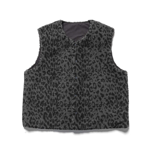 The Conspires Reversible Leopard Shearling Vest Black, Outerwear