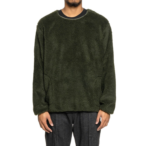 The Conspires Shearling Crew Pullover Olive, Sweaters