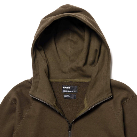 HAVEN Training Full Zip Hoodie - Cotton Fleece Olive, Sweaters