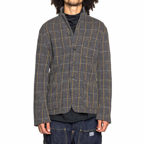 KAPITAL Tweed Fleecy Knit Kobe Jacket Gray/Yellow, Outerwear