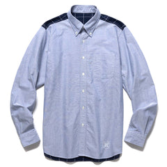 Uniform Experiment Back Windowpane Paneled B.D Shirt Navy, Shirts