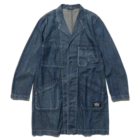 Uniform Experiment Damaged Shop Coat Indigo, Outerwear