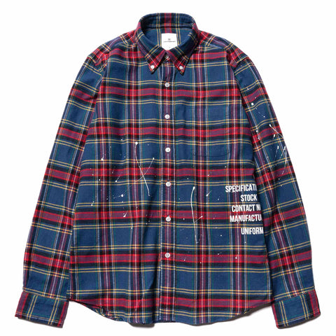 Uniform Experiment Flannel Check Dripping B.D. Shirt Blue, Tops