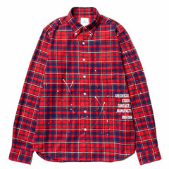 Uniform Experiment Flannel Check Dripping B.D. Shirt Red, Tops