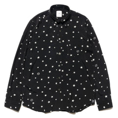 Uniform Experiment Rayon Patterned All Over B.D Shirt -Star- Black, Tops