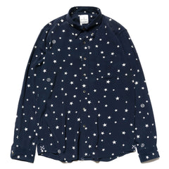 Uniform Experiment Rayon Patterned All Over B.D Shirt -Star- Navy, Tops