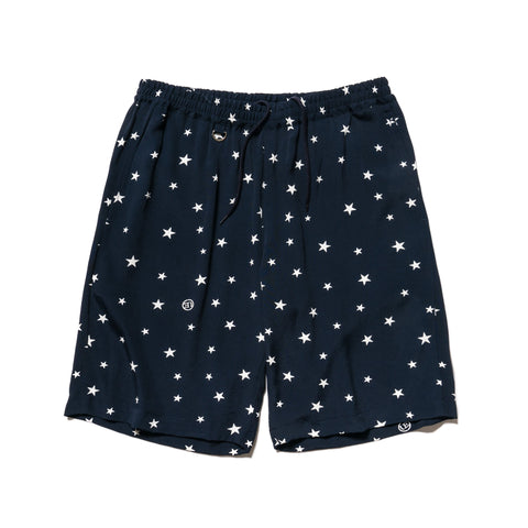 Uniform Experiment Rayon Patterned All Over Easy Short -Star- Navy, Shorts
