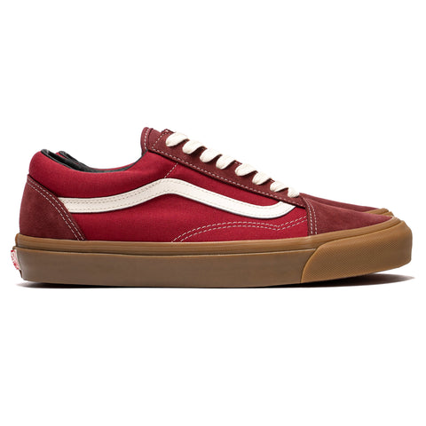 Vans Vault OG Old Skool Lx (Suede/Canvas) Madder Brown/ Jester Red, Footwear