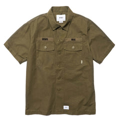 WTAPS Buds SS / Shirt. Cotton. Ripstop Olive Drab, Tops