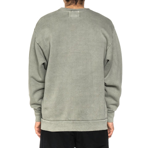WTAPS College Design Crew Neck 02 / Sweatshirt . Cotton . Loopwheel Olive Drab, Sweaters