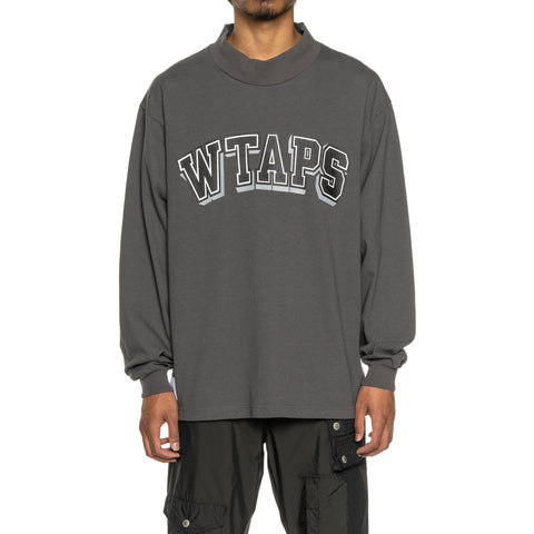 WTAPS Dawn. Mock Neck LS / Tee. Cotton Gray, T-Shirts