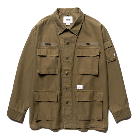 WTAPS Jungle LS 01 / Shirt . Cotton . Satin Olive Drab, Shirts