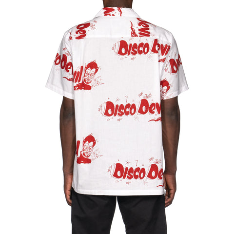 WACKO MARIA Disco Devil S/S Hawaiian Shirt (Type-1) White/Red, Tops