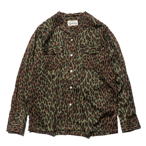 wacko maria Leopard Open Collar Shirt Green