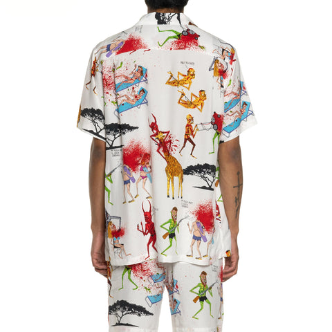 WACKO MARIA Neck Face / S/S Hawaiian Shirt White, Shirts
