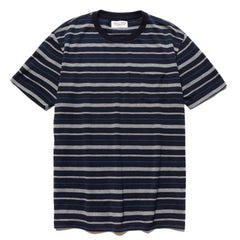 Striped Crew Neck T-Shirt (Type-4) Navy