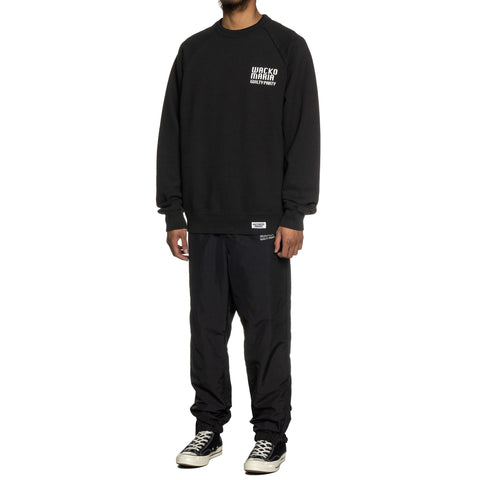 WACKO MARIA Washed Heavy Weight Crew Neck Sweat Shirt (Type-2) Black, Sweaters