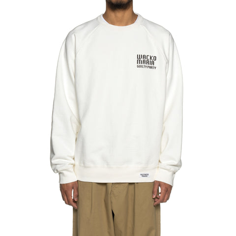 WACKO MARIA Washed Heavy Weight Crew Neck Sweat Shirt (Type-2) White, Sweaters