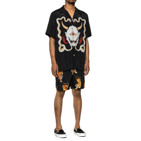 WACKO MARIA Wolf's Head / SS Hawaiian Shirt (Type-1) Black, Shirts
