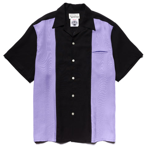 WACKO MARIA Wolf's Head / Two Tone 50's Shirt Black-Purple, Shirts