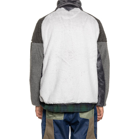 White Mountaineering Boa x Fleece High Neck Zip-Up Jacket Gray, Outerwear