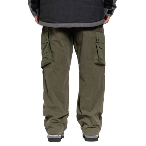 White Mountaineering Contrasted Wide Cargo Pants Khaki, Bottoms
