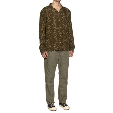 nonnative Bowler Shirt Poly Broad Liberty Print Olive, Shirts