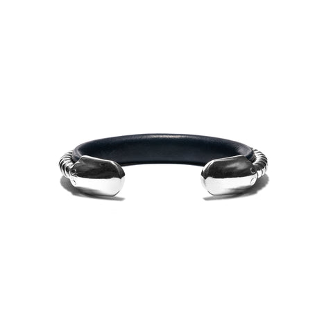 nonnative Hunter Bangle 925 Silver With Cow Leather by END Navy, Accessories