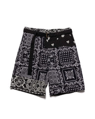 sacai Archive Print Mix Shorts Black x Navy, Bottoms