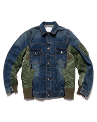 sacai Classic Denim x MA-1 Jacket Blue, Outerwear