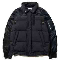 Nylon Twill Down Jacket Black x Black