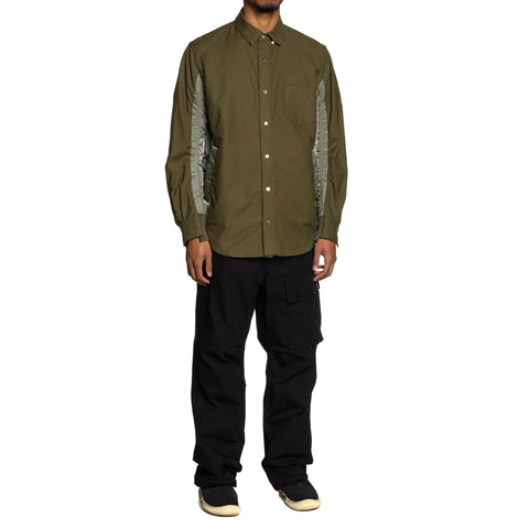 sacai Nylon Twill x Cotton Shirt Khaki, Shirts