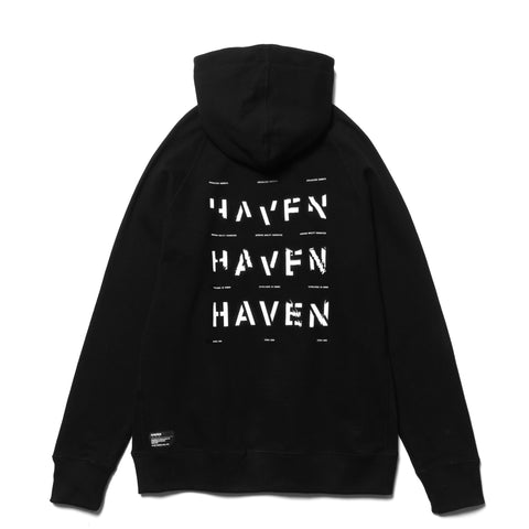HAVEN / Worship Stacked Pullover Hoodie - Cotton Terry Black, Sweaters