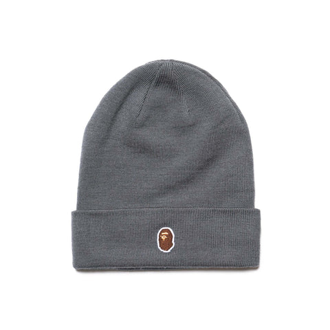 c6523f340a9 A BATHING APE Ape Head One Point Knit Cap Gray